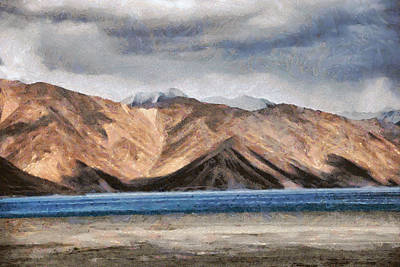 Massive Mountains And A Beautiful Lake Art Print by Ashish Agarwal
