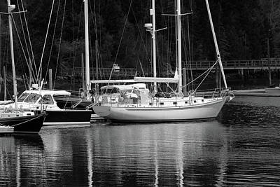 Photograph - Mast Reflections Maine Bw by Mary Bedy