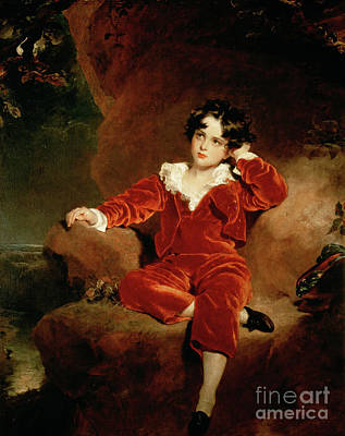 Black Curly Hair Painting - Master Charles William Lambton by Sir Thomas Lawrence