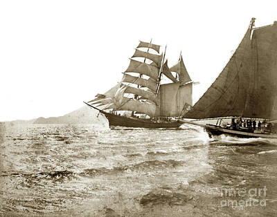 Photograph - Master Mariners Regatta Barkentine Makah Racing Sail Boats  1884 by California Views Mr Pat Hathaway Archives