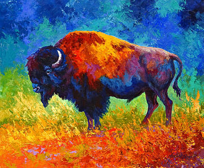 Prairie Painting - Master Of His Herd by Marion Rose