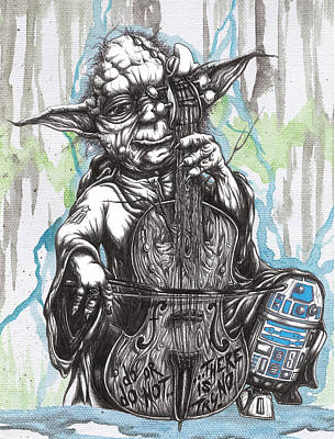 Master Yoda Charms Baby R2 With The Soothing Sound Of His Homegrown Cello Art Print by Tai Taeoalii