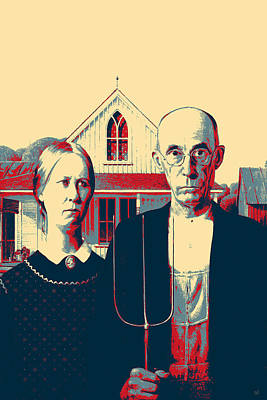 Digital Art - Masterpieces Revisited - American Gothic By Grant Wood by Serge Averbukh