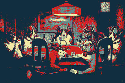 Digital Art - Masterpieces Revisited - Dogs Playing Poker - A Friend In Need By C. M. Coolidge by Serge Averbukh