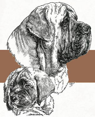 Mixed Media - Mastiff And Pup by Barbara Keith