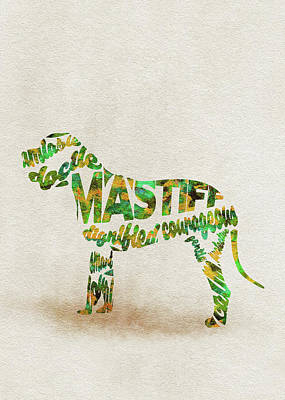 Mastiff Dog Watercolor Painting / Typographic Art Art Print
