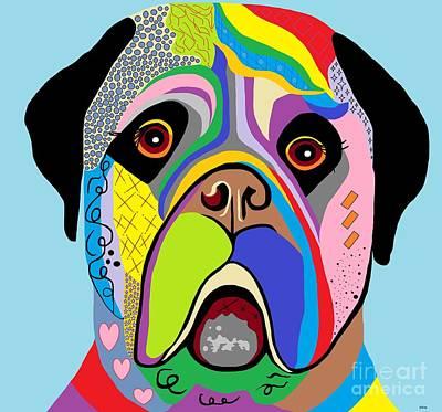 Pup Painting - Mastiff by Eloise Schneider