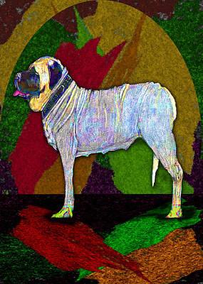 Digital Art - Mastiffically Colorful by Michelle Audas