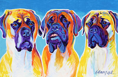 Domesticated Animal Painting - Mastiffs - All In The Family by Alicia VanNoy Call