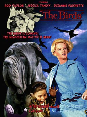 Painting - Mastino Napoletano - Neapolitan Mastiff Art Canvas Print - The Birds Movie Poster by Sandra Sij