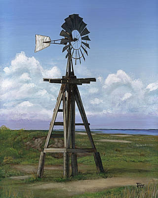 Matagorda Beach Windmill Art Print