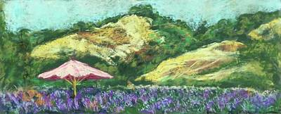Matanzas Creek Lavendar Fields With Umbrella By Grace Fong Original by Grace Fong