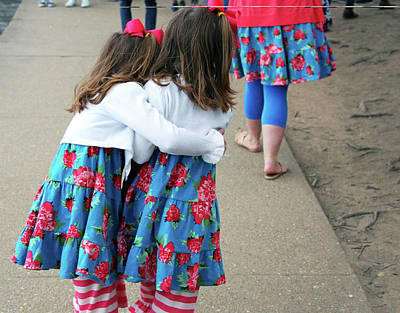 Photograph - Matching Dresses -- A Mother And Her Twin Daughters by Cora Wandel