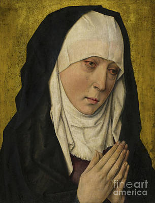 Torn Painting - Mater Dolorosa  Sorrowing Virgin by Dieric the Elder Bouts