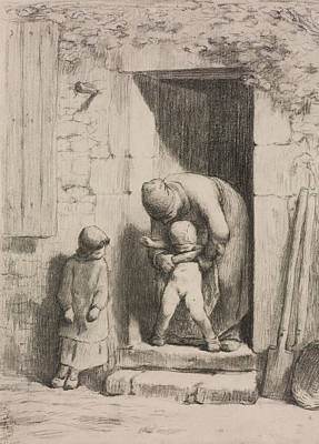 Realist Drawing - Maternal Solicitude by Jean-Francois Millet