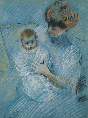 Woman Holding Baby Pastel - Maternity by Paul Cesar Helleu