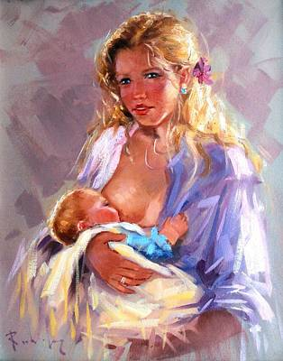 Italy Town Large Painting - Maternity by Rodriguez