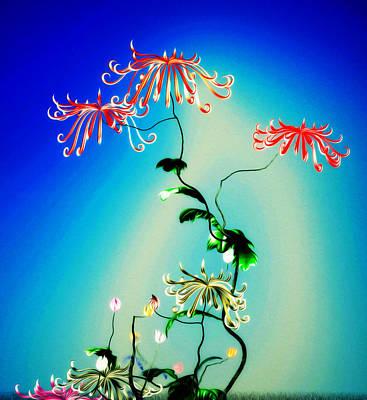 Digital Art - Math Chrysanthemum 1 by GuoJun Pan