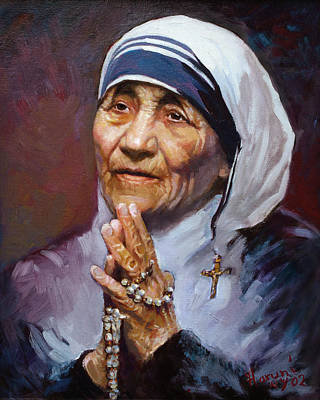 Portrait Painting - Mother Teresa by Ylli Haruni