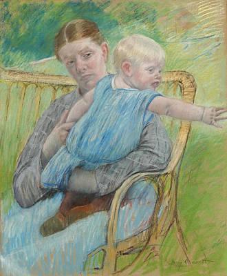 Mary Stevenson Cassatt Drawing - Mathilde Holding A Baby Who Reaches Out To Right by Mary Stevenson Cassatt