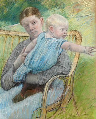 Mathilde Holding A Baby Who Reaches Out To The Right Art Print by Mary Stevenson Cassatt