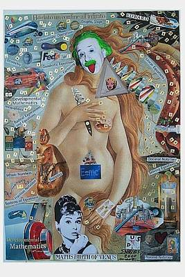 What Is Life Mixed Media - Maths Birth Of Venus Version Albert Einstein by Francesco Martin