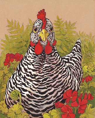 Chicken Painting - Matilda In The Geraniums by Tracie Thompson