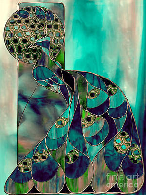 Birds Painting Rights Managed Images - Mating Season Stained Glass Peacock Royalty-Free Image by Mindy Sommers