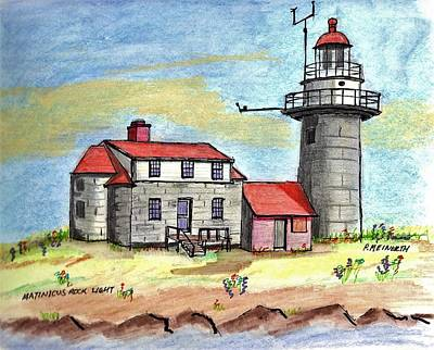Drawing - Matinicus Rock Light by Paul Meinerth