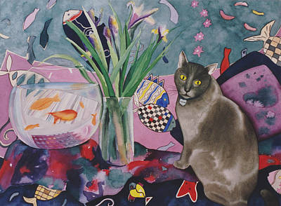 Card Painting - Matisse Cat by Eve Riser Roberts