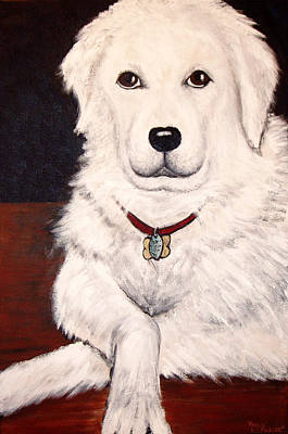 Acrylic Painting - Matisse- Portrait Of A Hungarian Kuvasz by Nancy Mueller