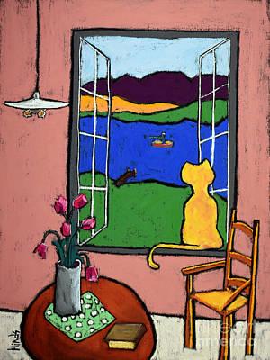 Interior Still Life Drawing - Matisse's Cat by David Hinds