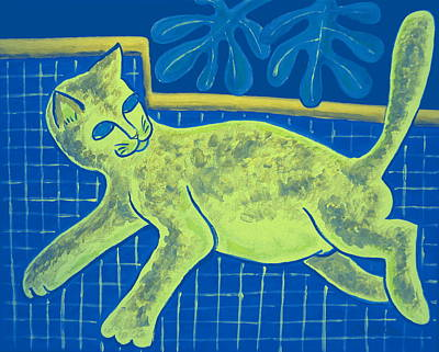 Digital Art - Matisse's Cat In Reverse by George I Perez