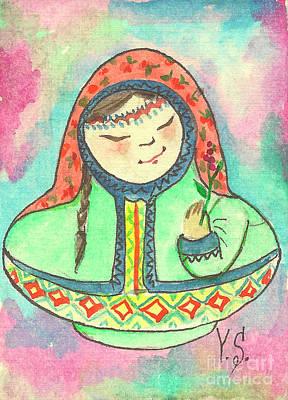 Etnic Art Painting - Matryoshka In Khanty-style. Autumn. by Yana Sadykova