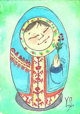 Etnic Art Painting - Matryoshka In Khanty-style. Spring. by Yana Sadykova