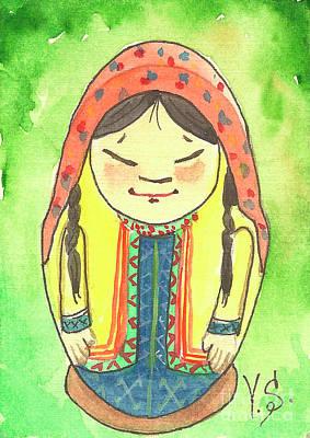 Etnic Art Painting - Matryoshka In Khanty-style. Summer. by Yana Sadykova