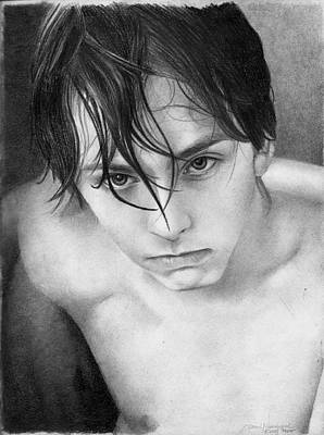 Male Nude Drawing Drawing - Matt by David Vanderpool