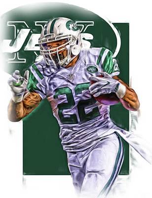 Jet Mixed Media - Matt Forte New York Jets Oil Art by Joe Hamilton