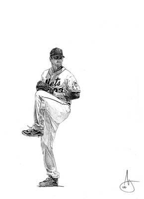 New York Mets Drawing - Matt Harvey by Joshua Sooter