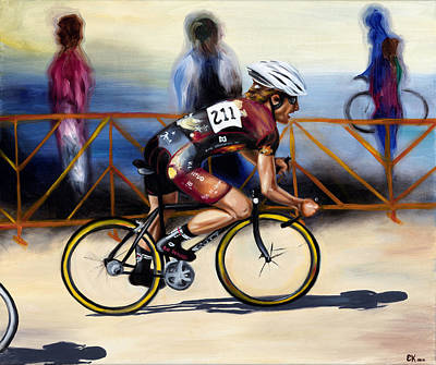 Cycling Action Painting - Matt Rides In The Prospect Crit by Erika Kampe