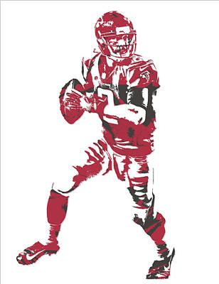 Atlanta Falcons Wall Art - Mixed Media - Matt Ryan Atlanta Falcons Pixel Art 5 by Joe Hamilton