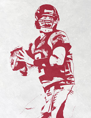 Falcon Mixed Media - Matt Ryan Atlanta Falcons Pixel Art by Joe Hamilton
