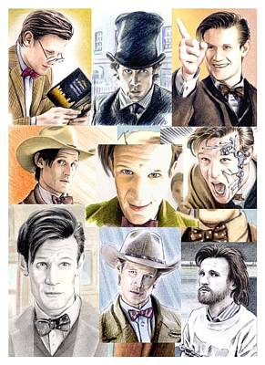 11th Doctor Drawing - Matt Smith Timelord Montage by Wu Wei