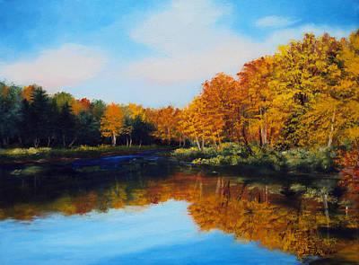 Maine Painting - Mattawamkeag River In Autumn by Laura Tasheiko
