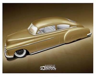 Lowrider Digital Art - Matte Gold 49 Chevy Custom  by Matt Bernal
