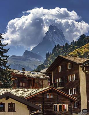 Featured Tapestry Designs - Matterhorn and Zermatt village houses, Switzerland by Elenarts - Elena Duvernay photo