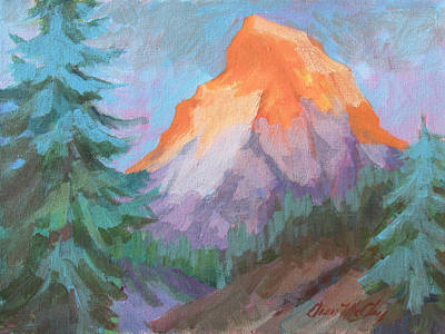Art Print featuring the painting Matterhorn Sunrise by Diane McClary