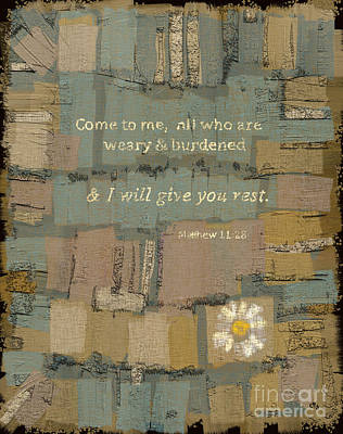 Lined Quilts Painting - Matthew Bible Verse by Carrie Joy Byrnes