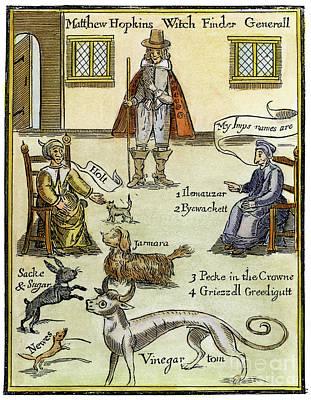 Salamanders Drawing - Matthew Hopkins, D.1647 by Granger
