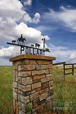 Pollart, Entrance Drive Way, Angle Iron Art , Rock And Mortar Sculpture Art Print